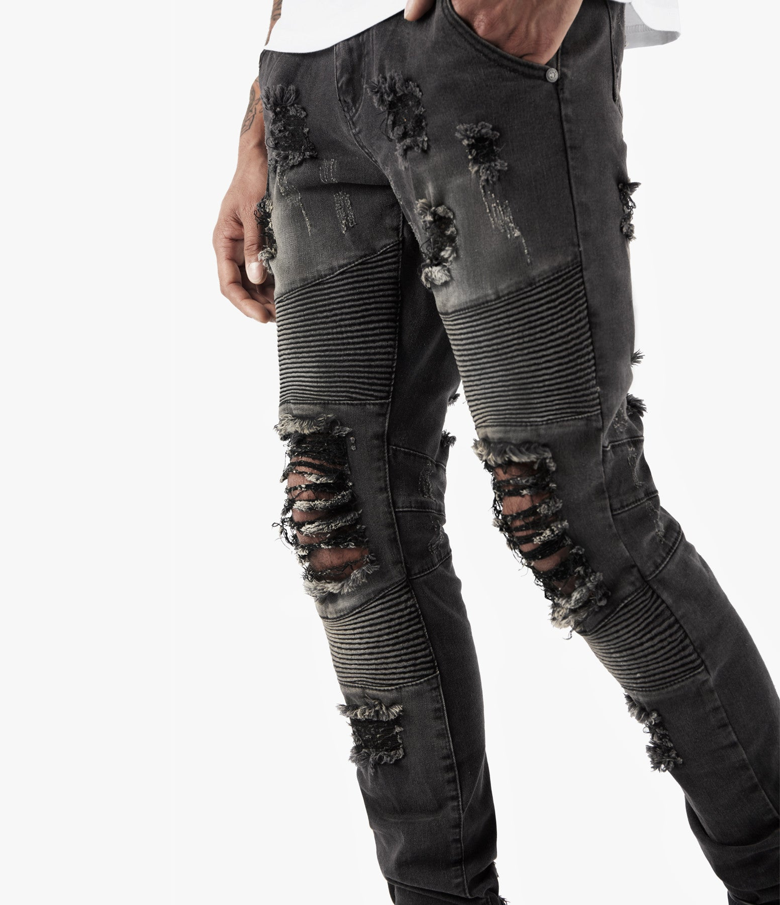 JN152 Distressed Stone Wash Biker Denim - Black - underated london - underatedco - 2