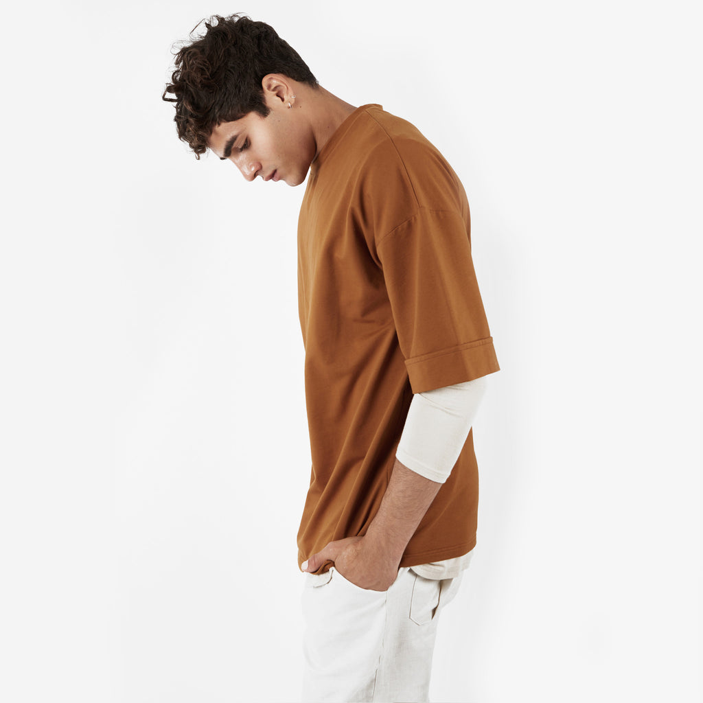 TS271 Oversized Tee - Cognac - underated london - underatedco - 7