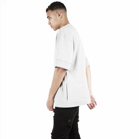 SW345 Oversized Short Sleeve Sweatshirt - Grey - underated london - underatedco - 1
