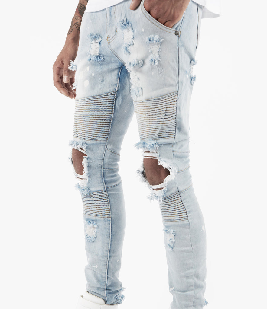 JN152 Distressed Paint Splatter Biker Denim - Light Blue - underated london - underatedco - 4