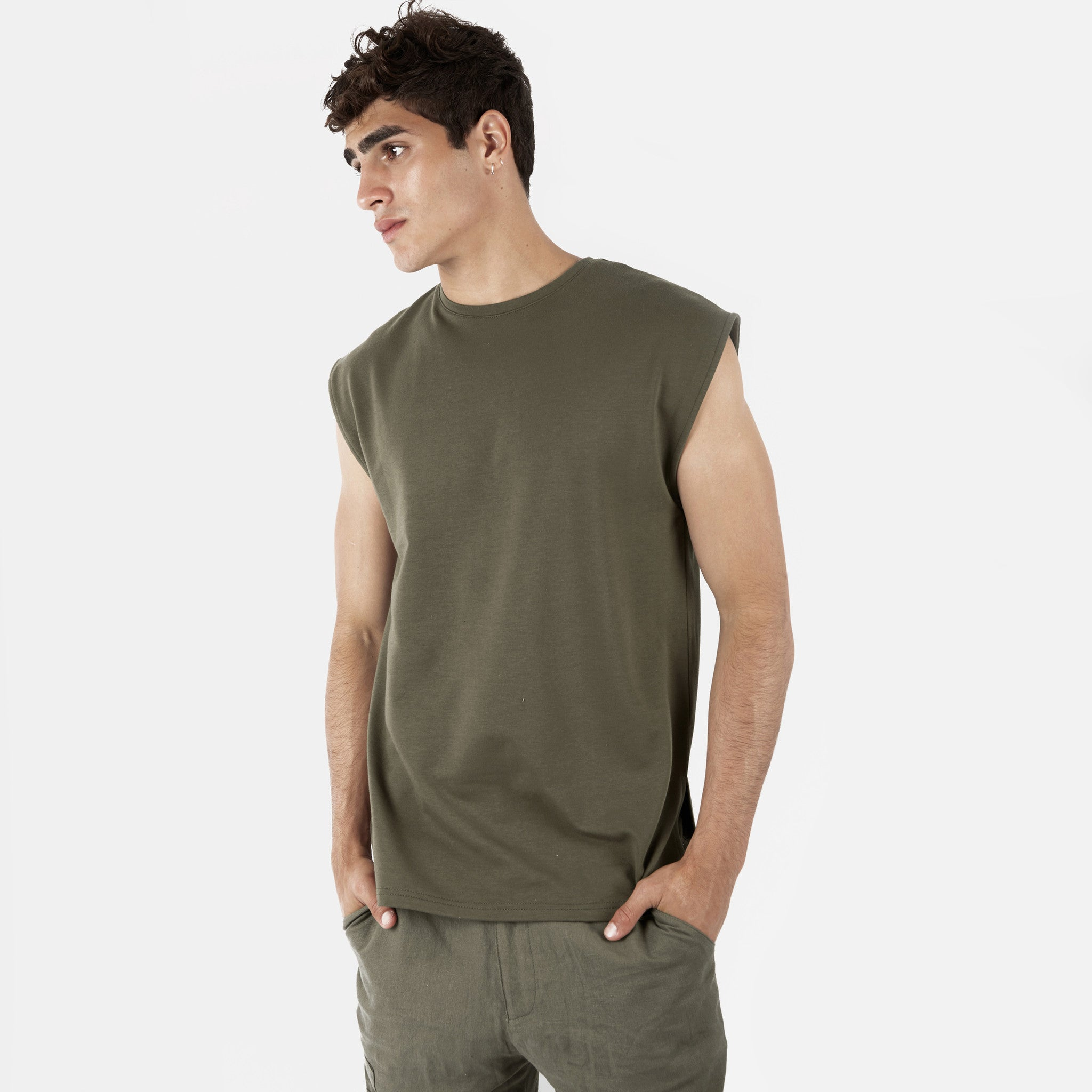 2 Pack Sleeveless Muscle Tee - Khaki/Beige - underated london - underatedco - 2
