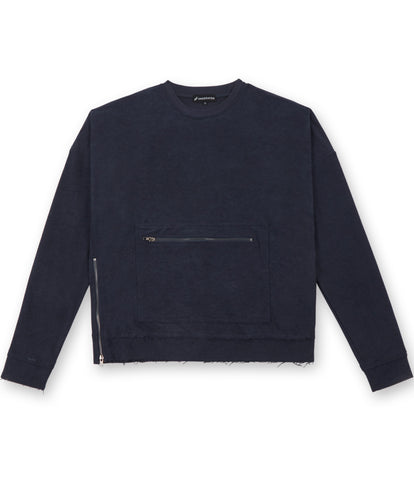 SW301 Oversized Inside Out Sweatshirt - Navy - UNDERATED