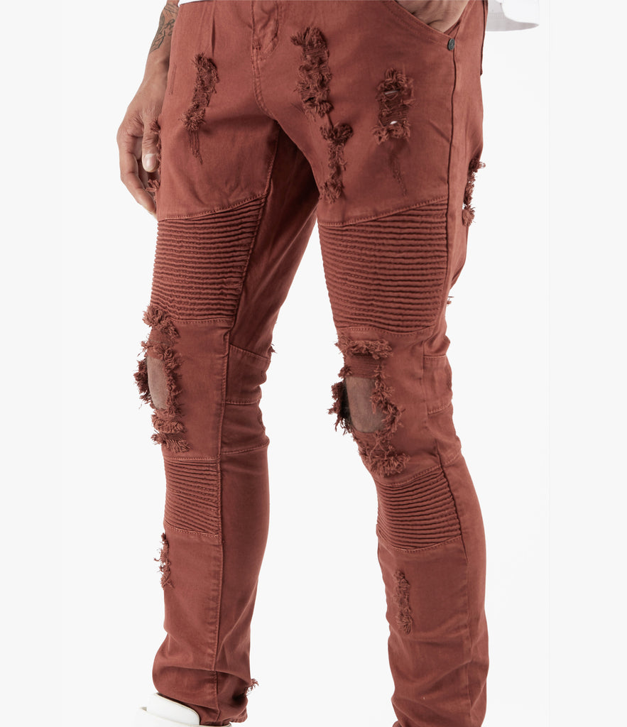 JN152 Distressed Biker Denim - Rust - underated london - underatedco - 3