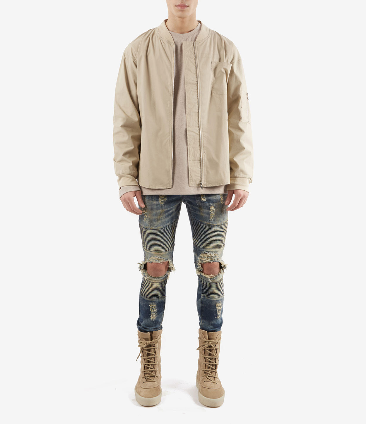 SH357 Bomber Shirt - Sand - underated london - underatedco - 2