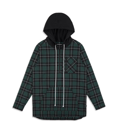 SH413 Tartan Shirt Hoody - Green - UNDERATED