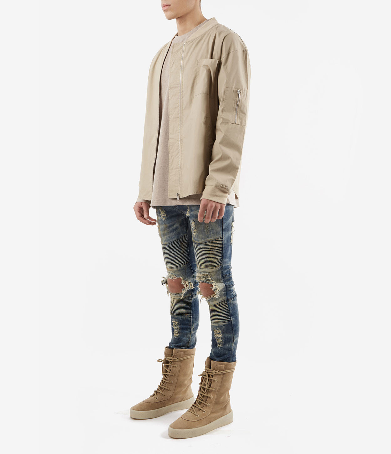 SH357 Bomber Shirt - Sand - underated london - underatedco - 3
