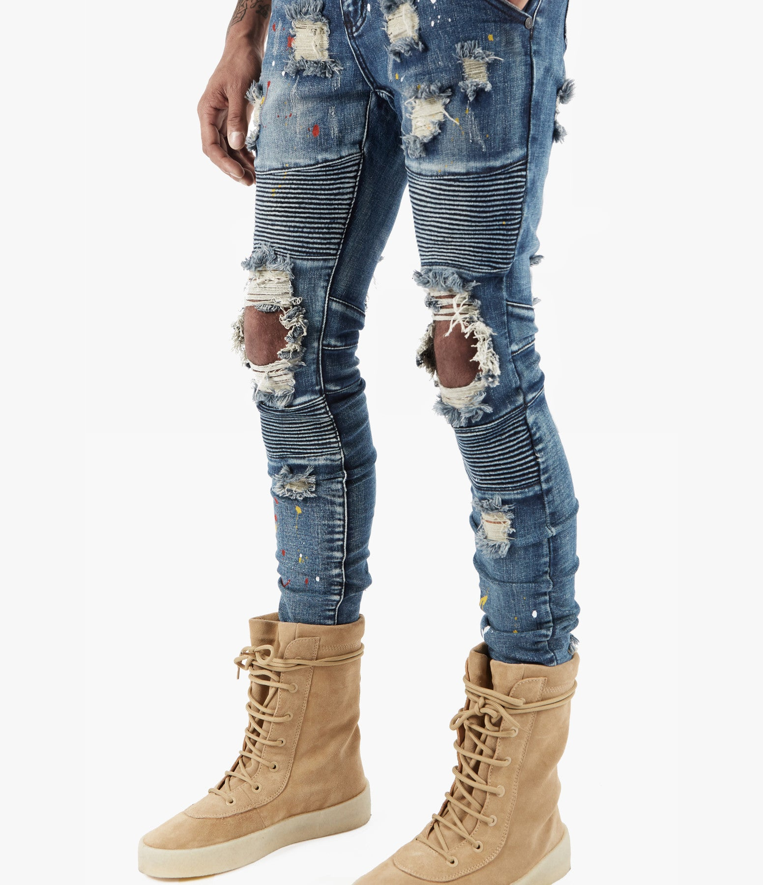 JN152 Distressed Paint Splatter Biker Denim - Indigo - underated london - underatedco - 3