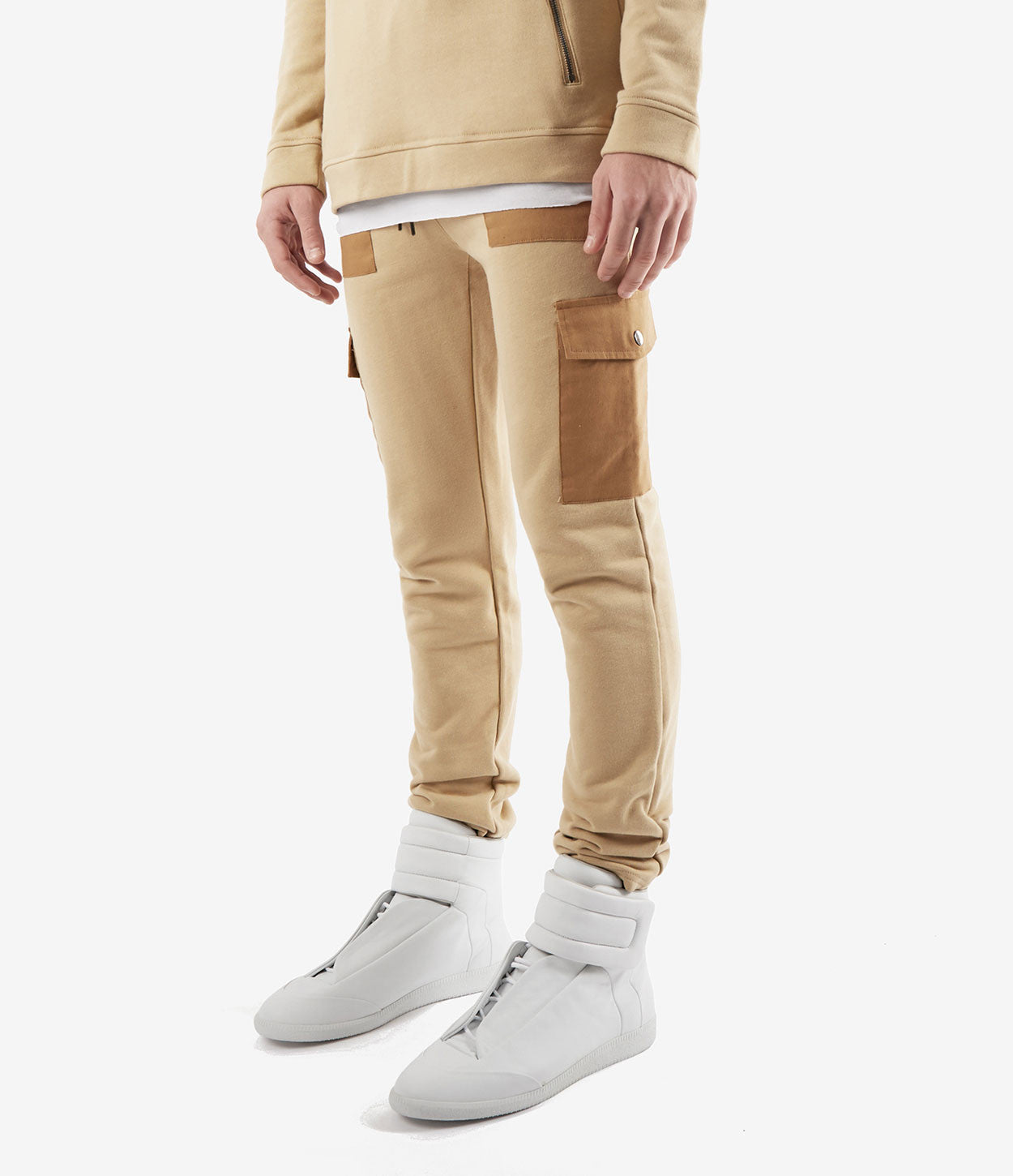 JN381 Utility Cargo Joggers - Beige - underated london - underatedco - 3