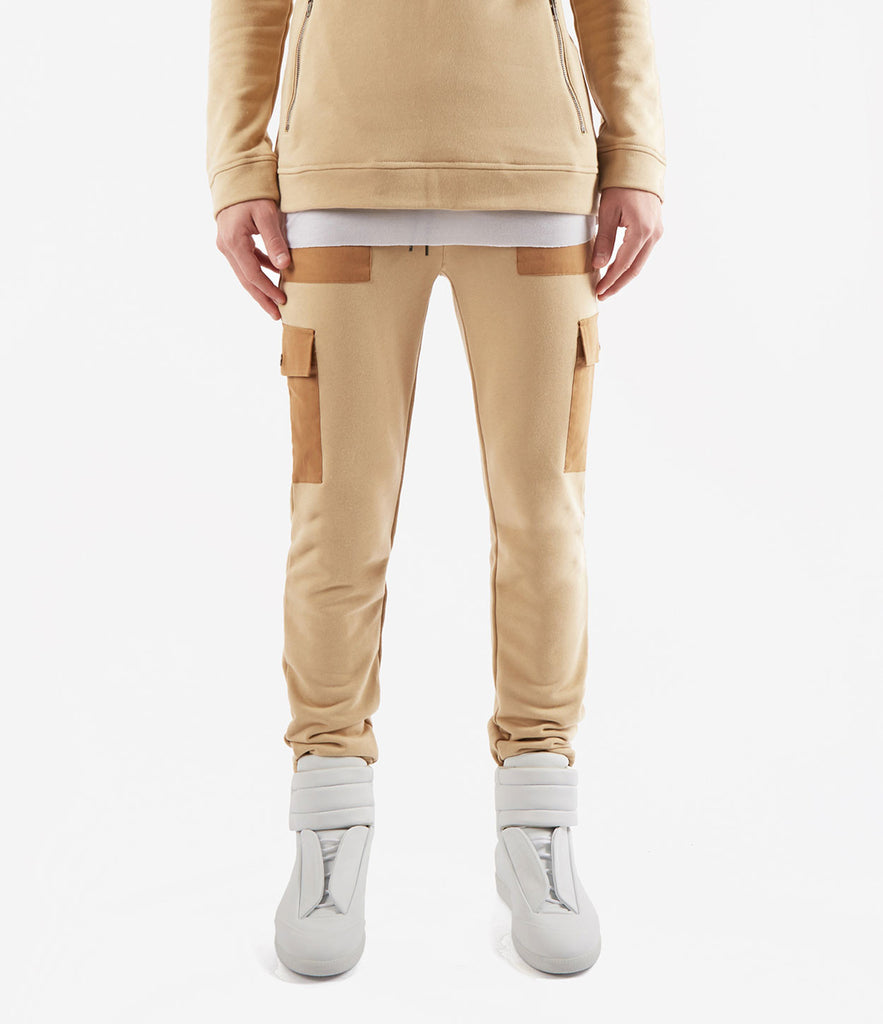 JN381 Utility Cargo Joggers - Beige - underated london - underatedco - 2