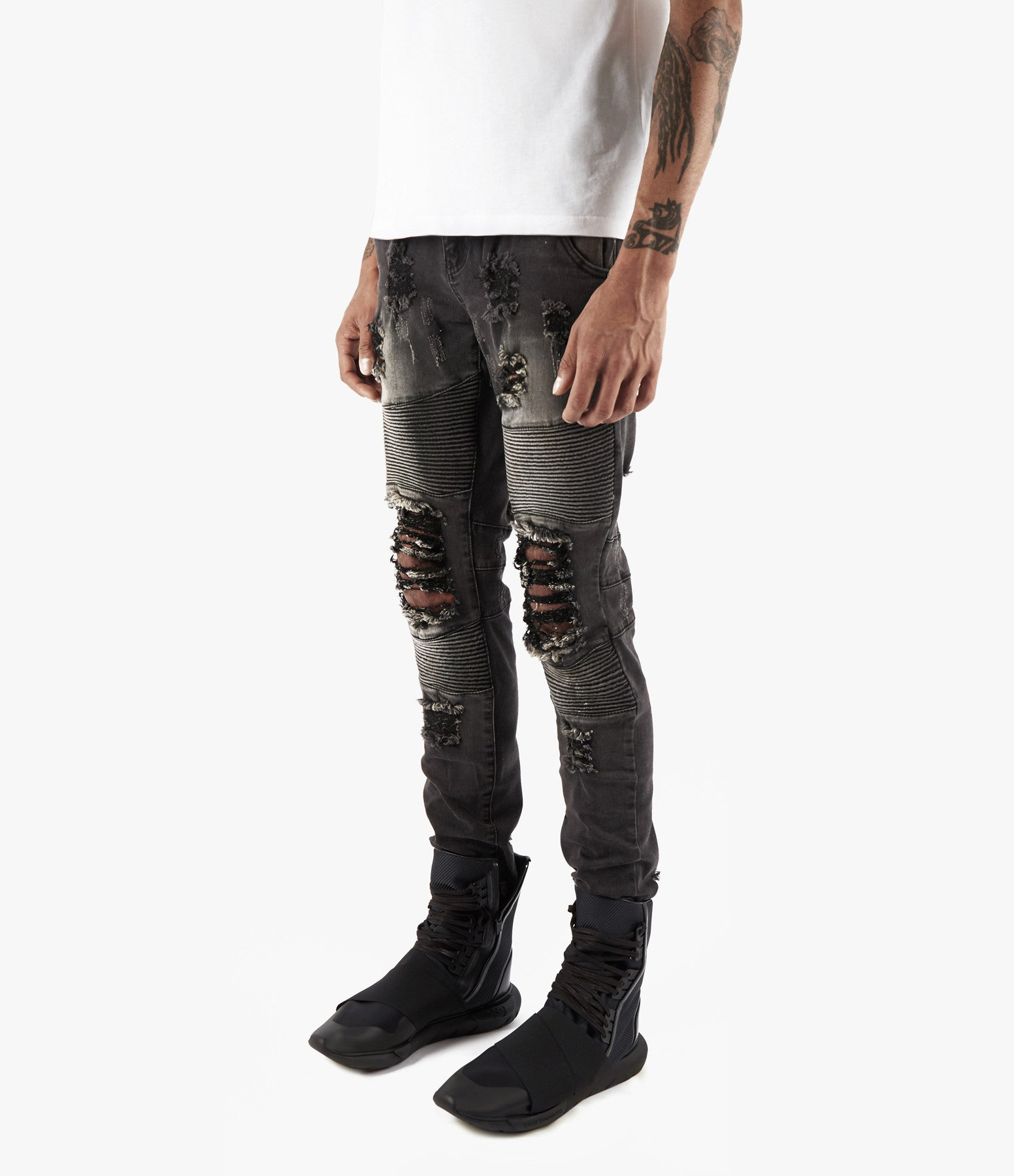 JN152 Distressed Stone Wash Biker Denim - Black - underated london - underatedco - 6