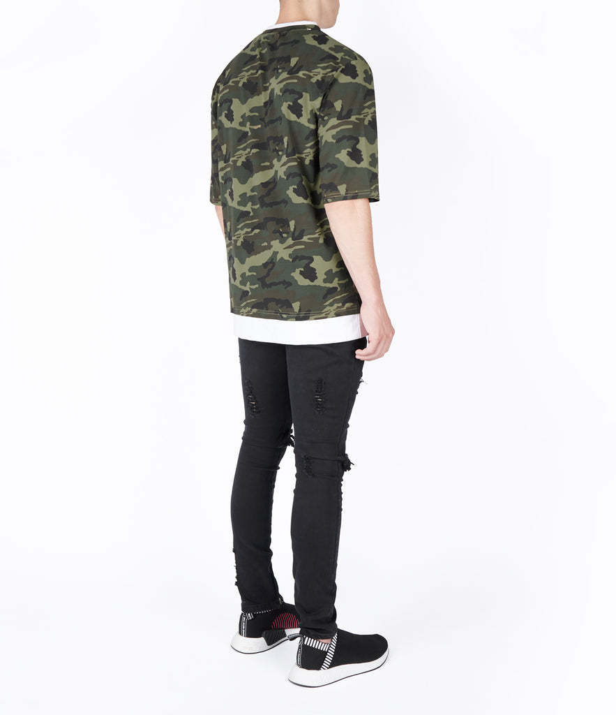 TS380 Collar Print Tee - Camo - UNDERATED