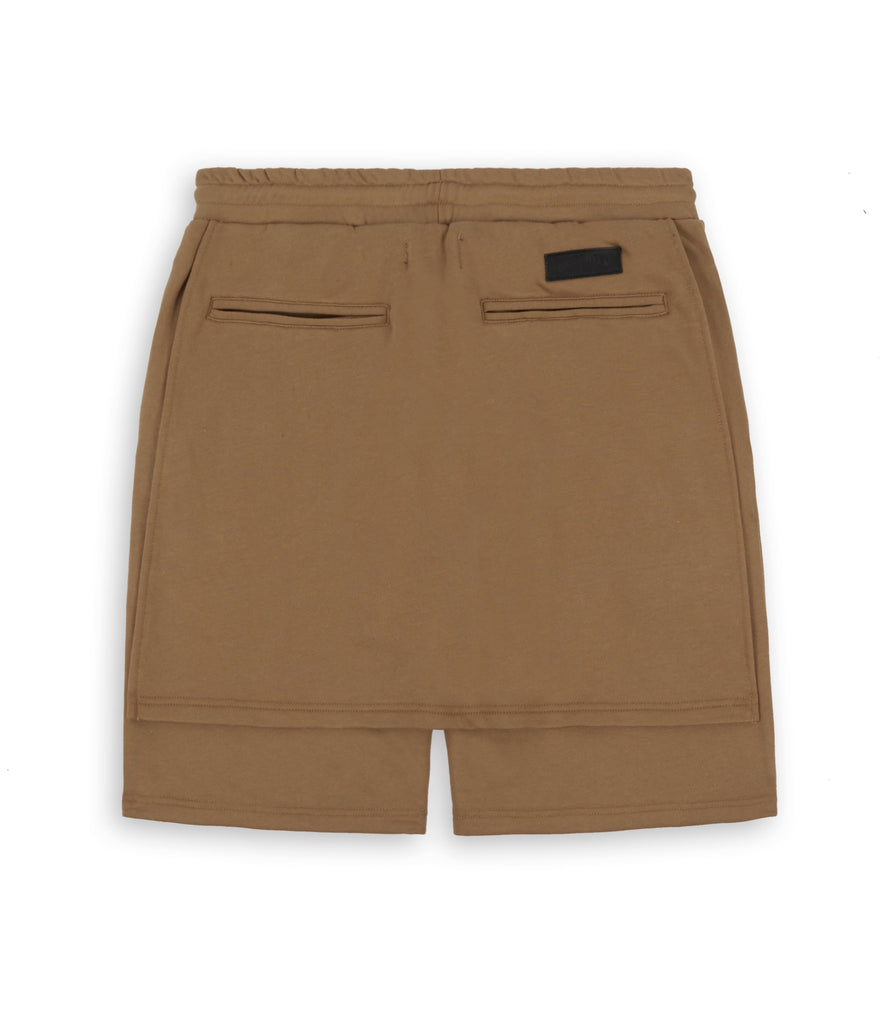 SR054 Layered Shorts - Tan - underated london - underatedco - 2