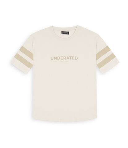 TS404 Tonal Print Tee - Beige - underated london - underatedco - 1