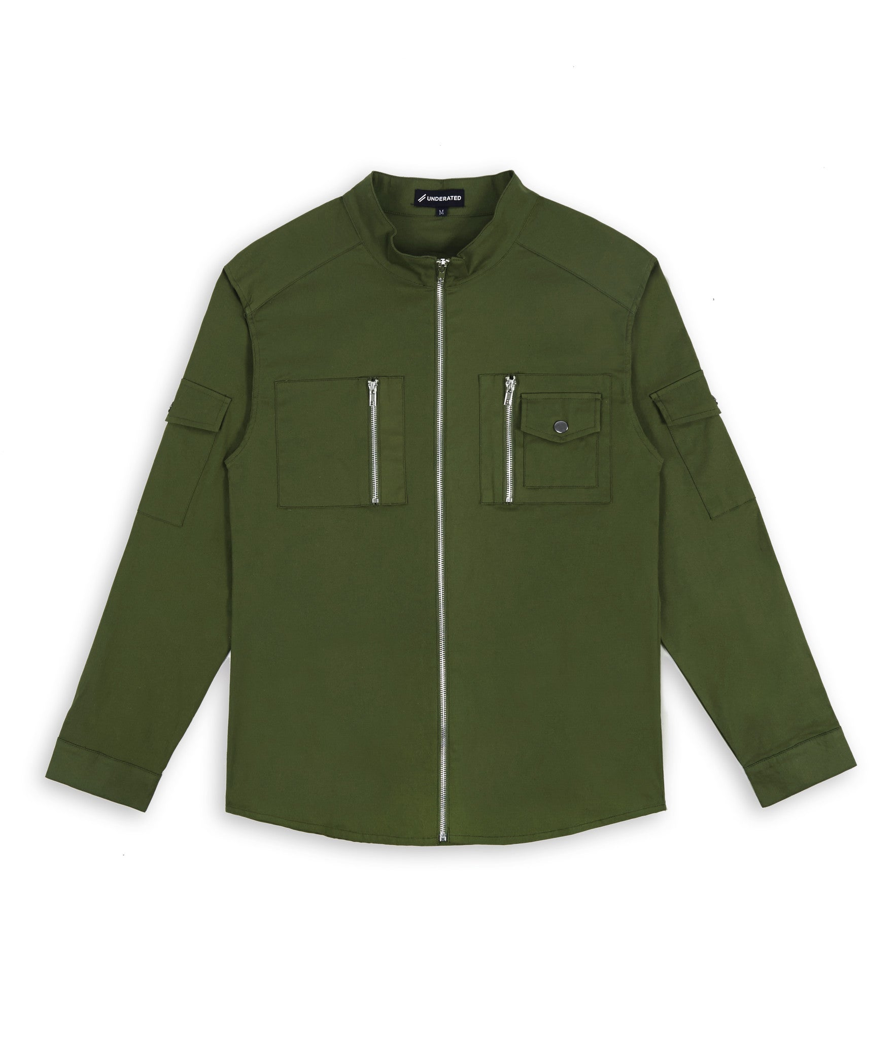 SH342 Utility Zip Shirt - Military Green - underated london - underatedco - 1