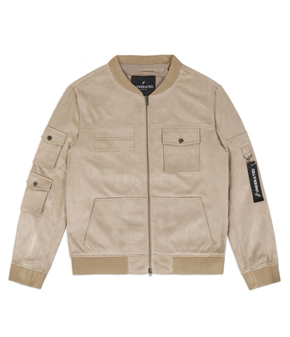 JK372 Suede Utility Jacket - Sand - underated london - underatedco - 1