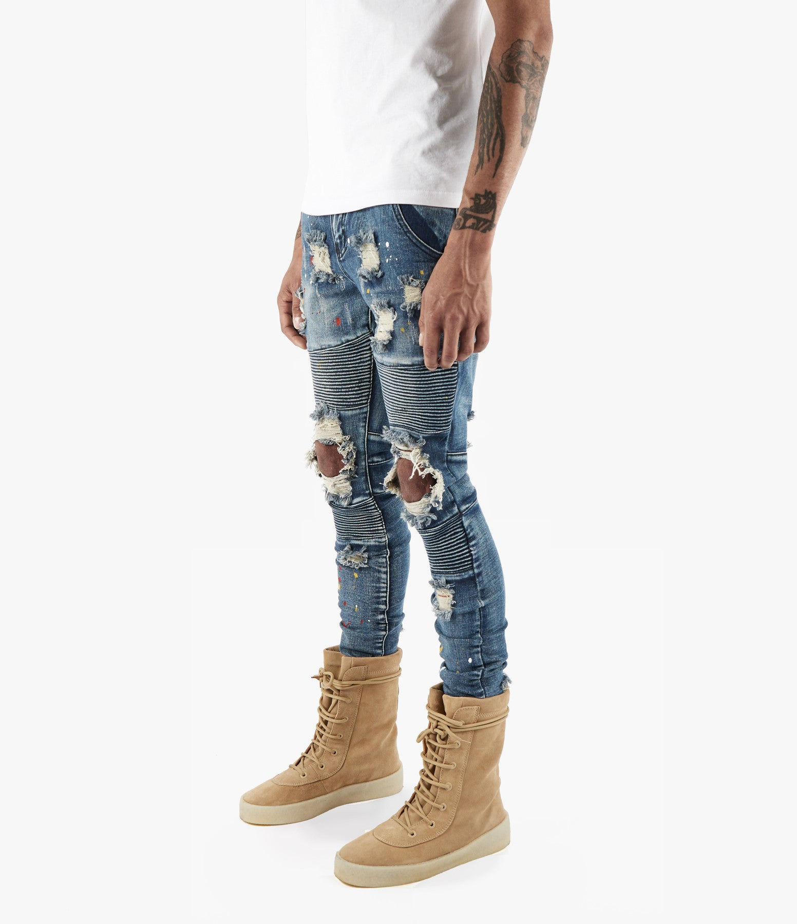 JN152 Distressed Paint Splatter Biker Denim - Indigo - underated london - underatedco - 6