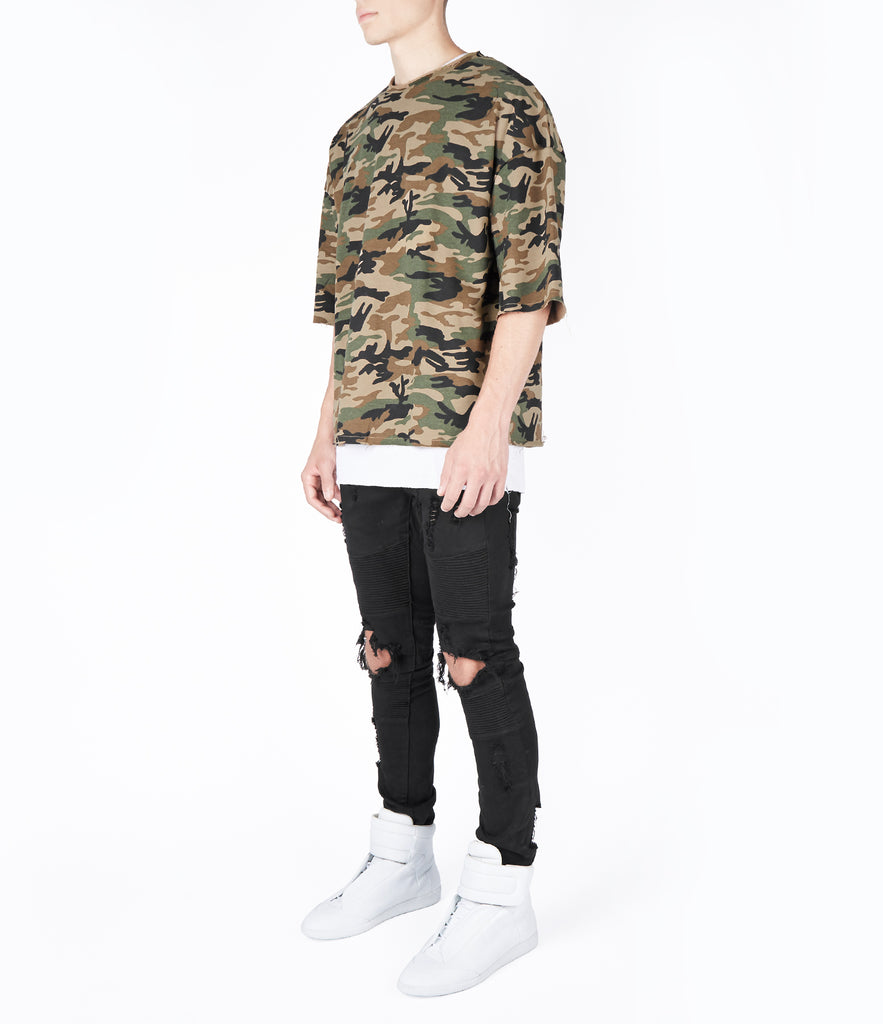SW303 Oversized Short Sleeve Camo Sweatshirt