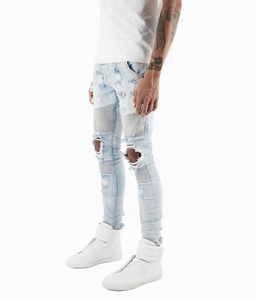 JN152 Distressed Paint Splatter Biker Denim - Light Blue - underated london - underatedco - 6