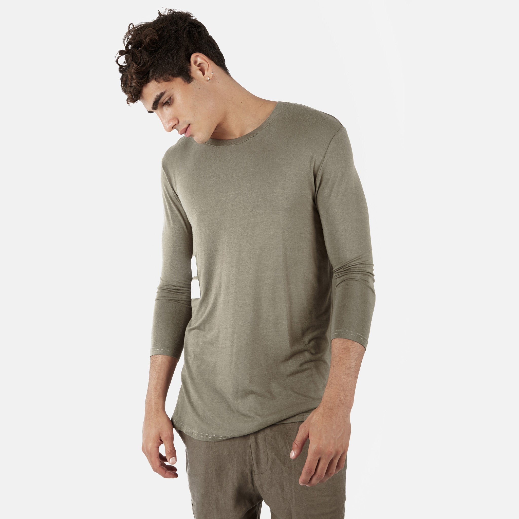 2 Pack Under Layer 3/4 Sleeve Tee - Khaki/Beige - underated london - underatedco - 2