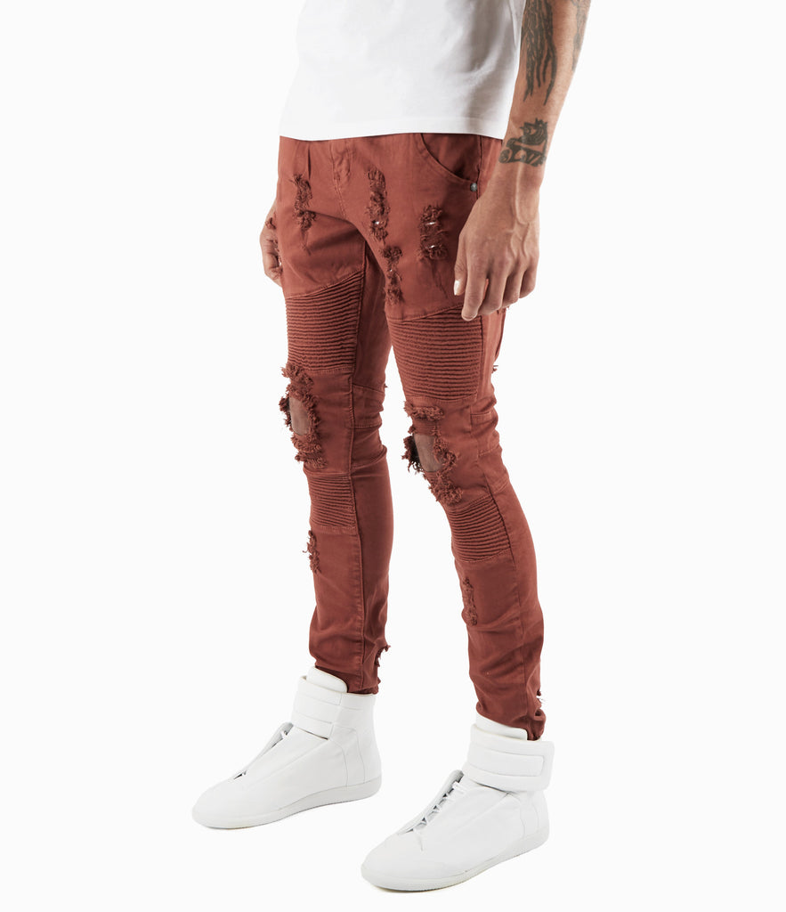 JN152 Distressed Biker Denim - Rust - underated london - underatedco - 5