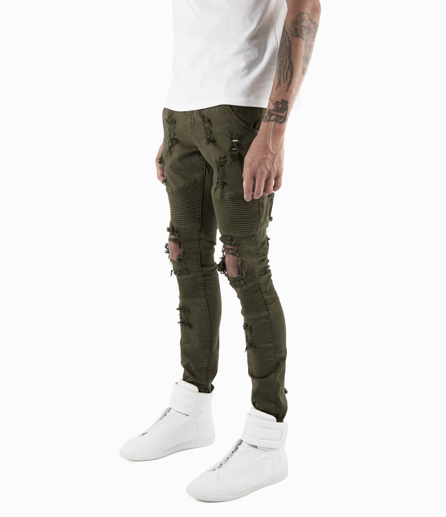 JN152 Distressed Biker Denim - Khaki - underated london - underatedco - 4