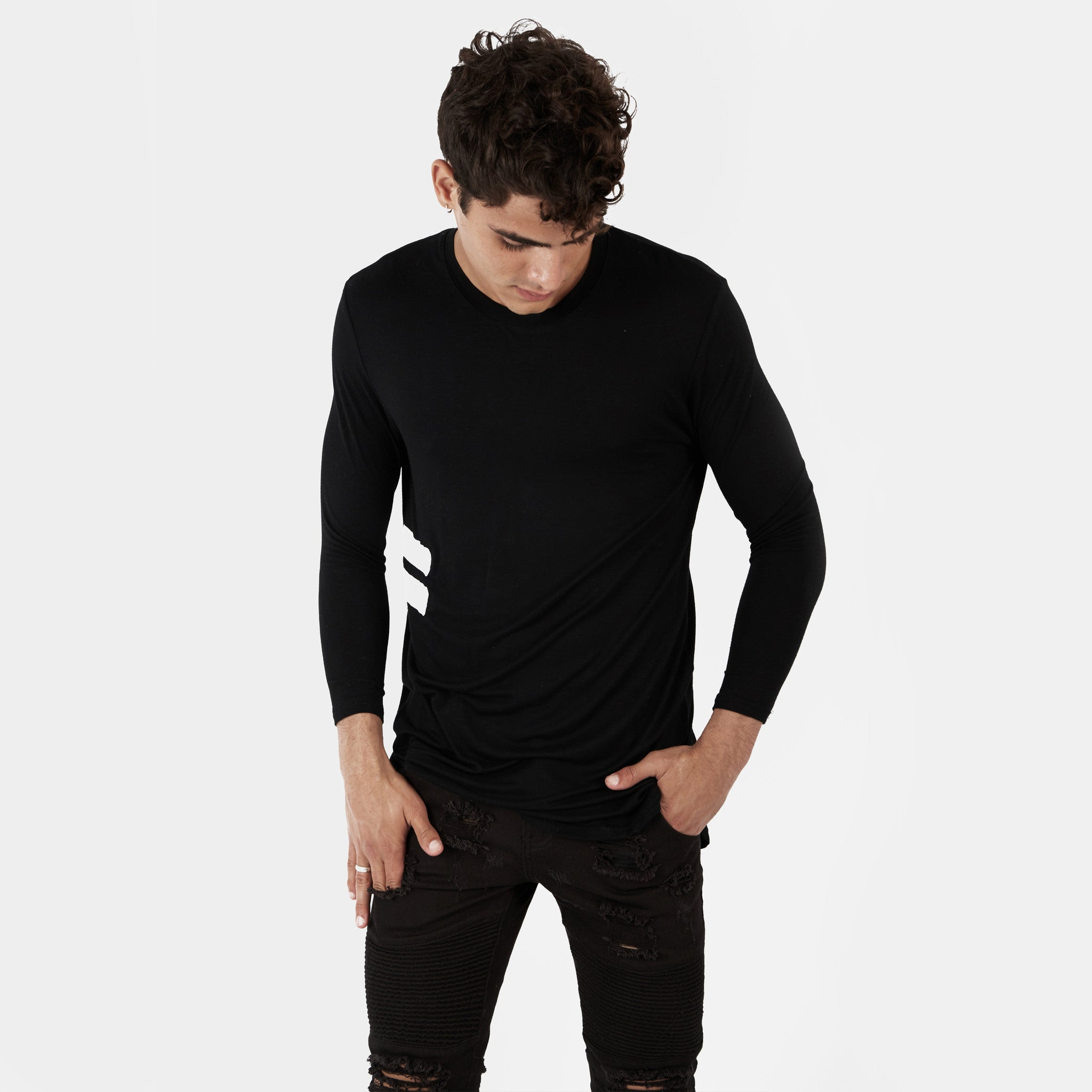 TS272 Under Layer 3/4 Sleeve Tee - Black - underated london - underatedco - 3