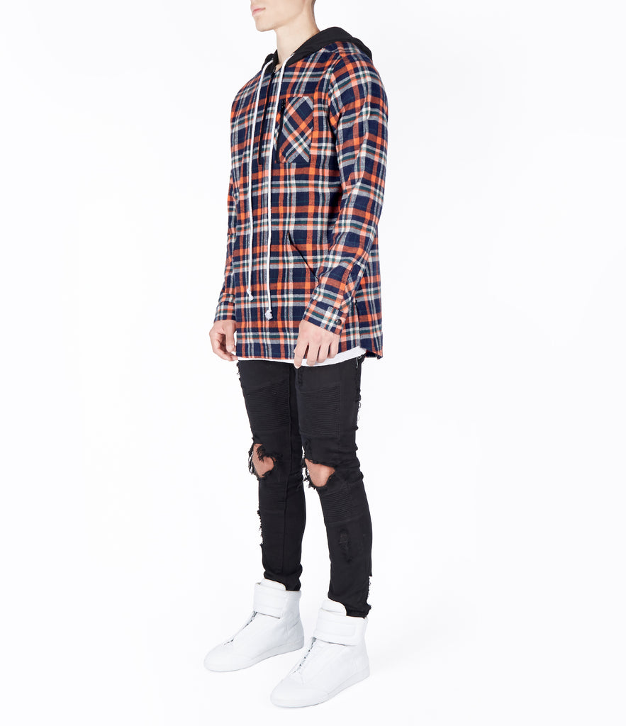 SH413 Tartan Shirt Hoody - Orange - UNDERATED