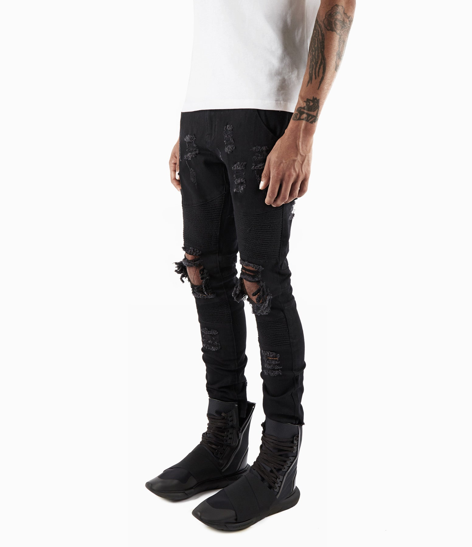 JN152 Distressed Biker Denim - Solid Black - underated london - underatedco - 6