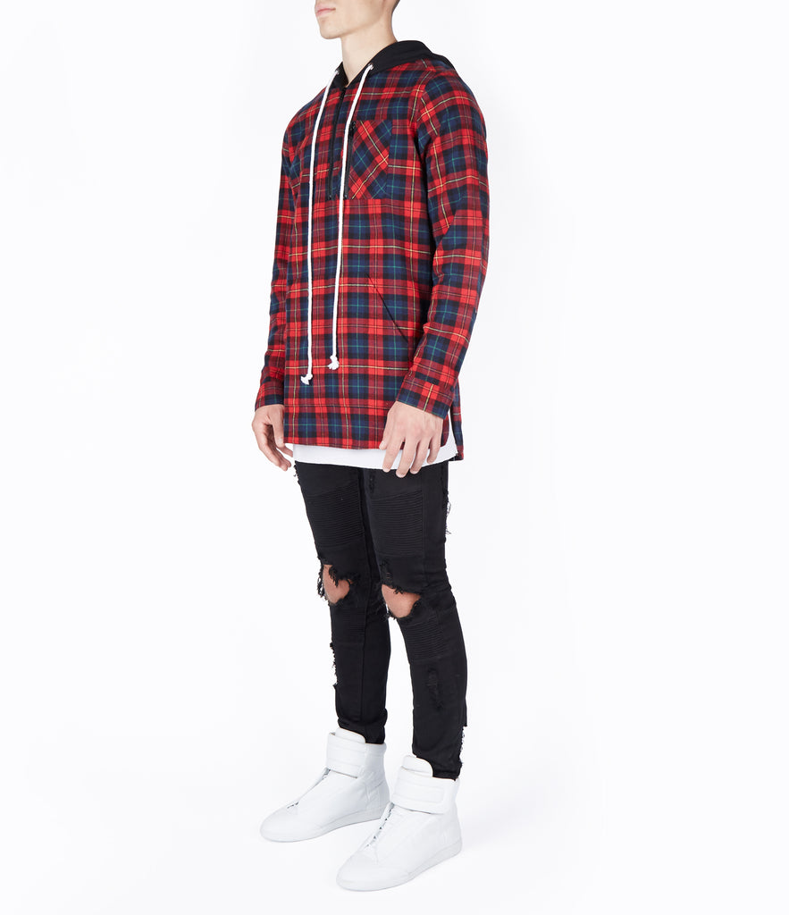 SH413 Tartan Shirt Hoody - Red - UNDERATED