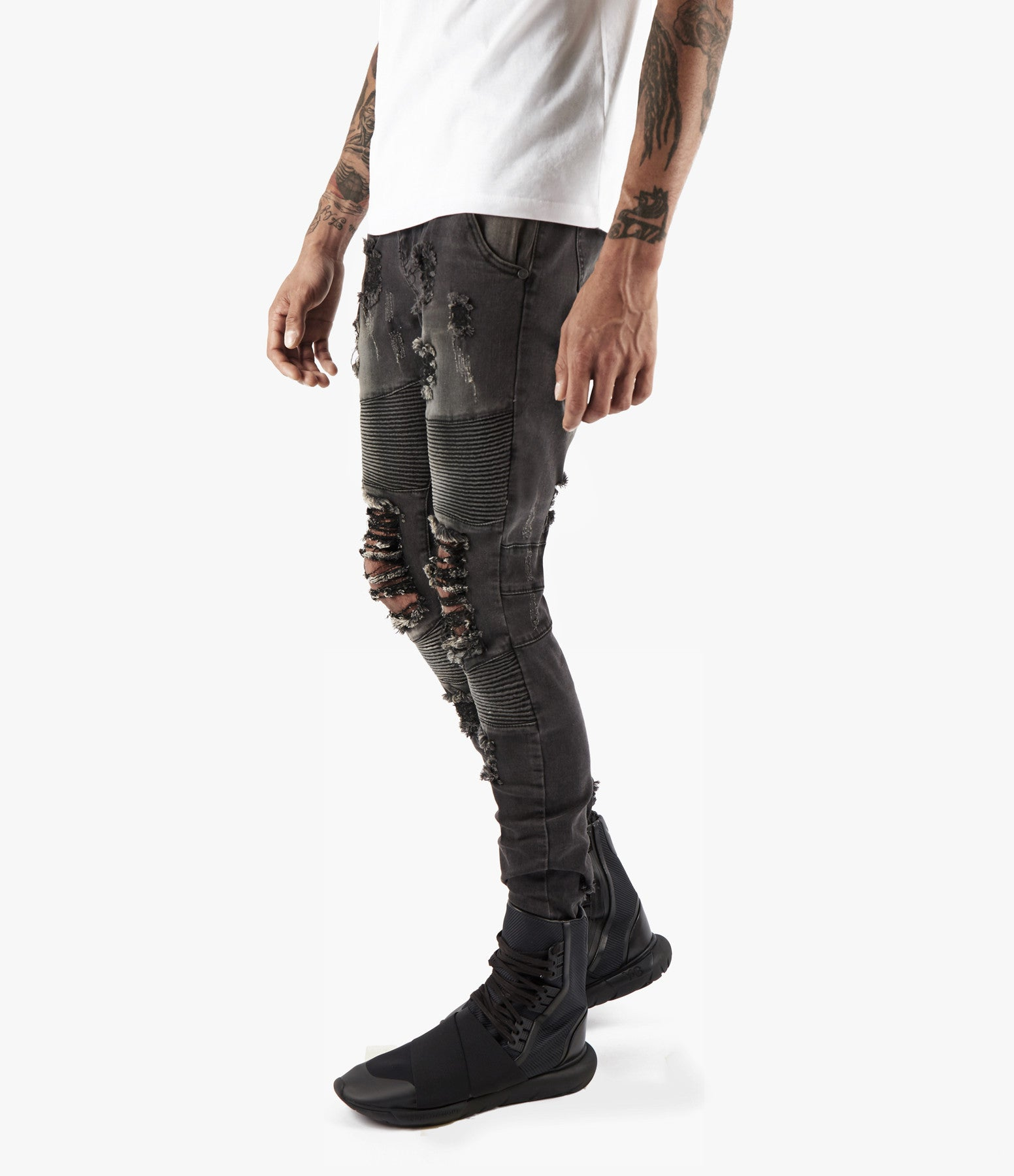 JN152 Distressed Stone Wash Biker Denim - Black - underated london - underatedco - 4