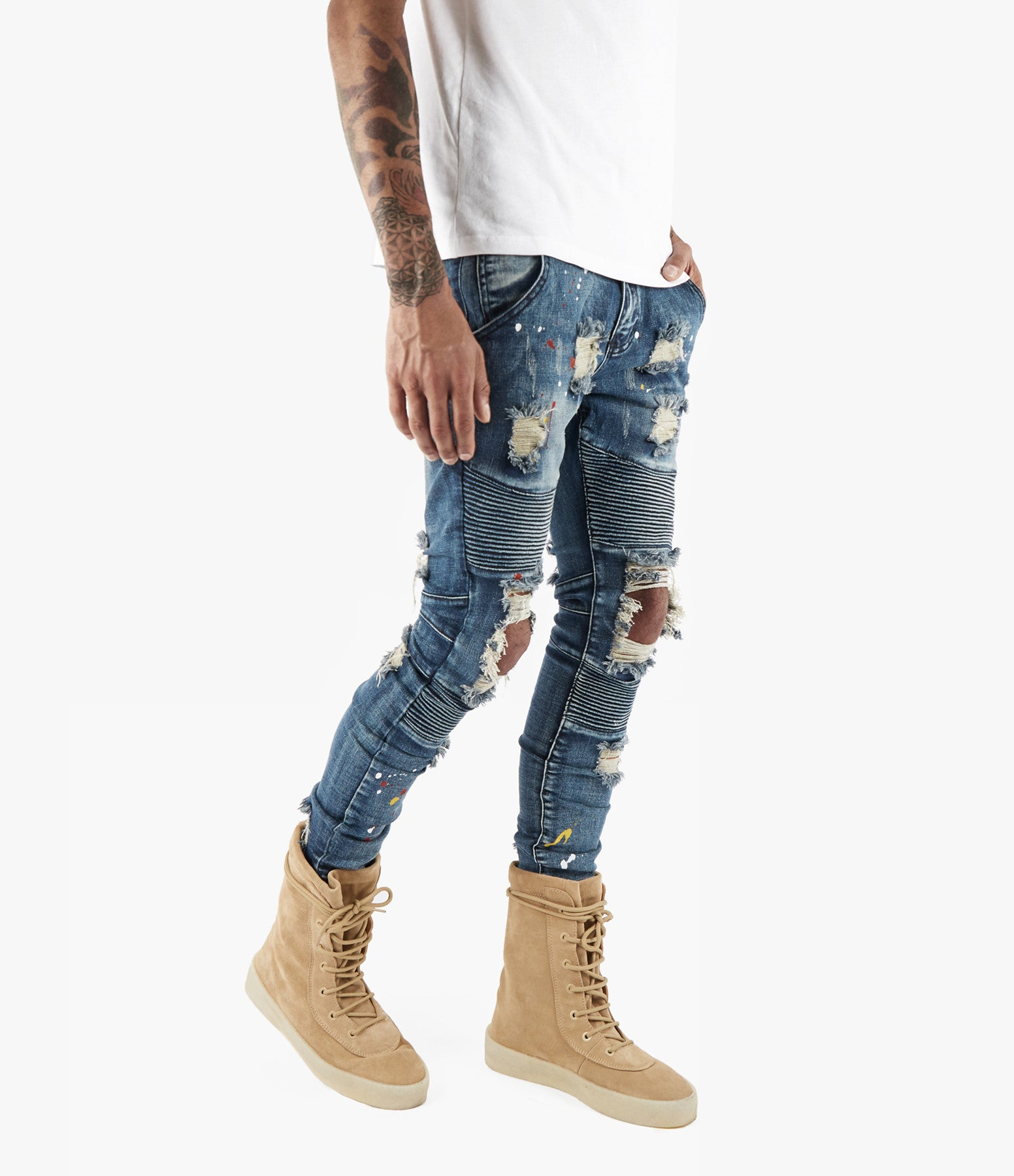 JN152 Distressed Paint Splatter Biker Denim - Indigo - underated london - underatedco - 1