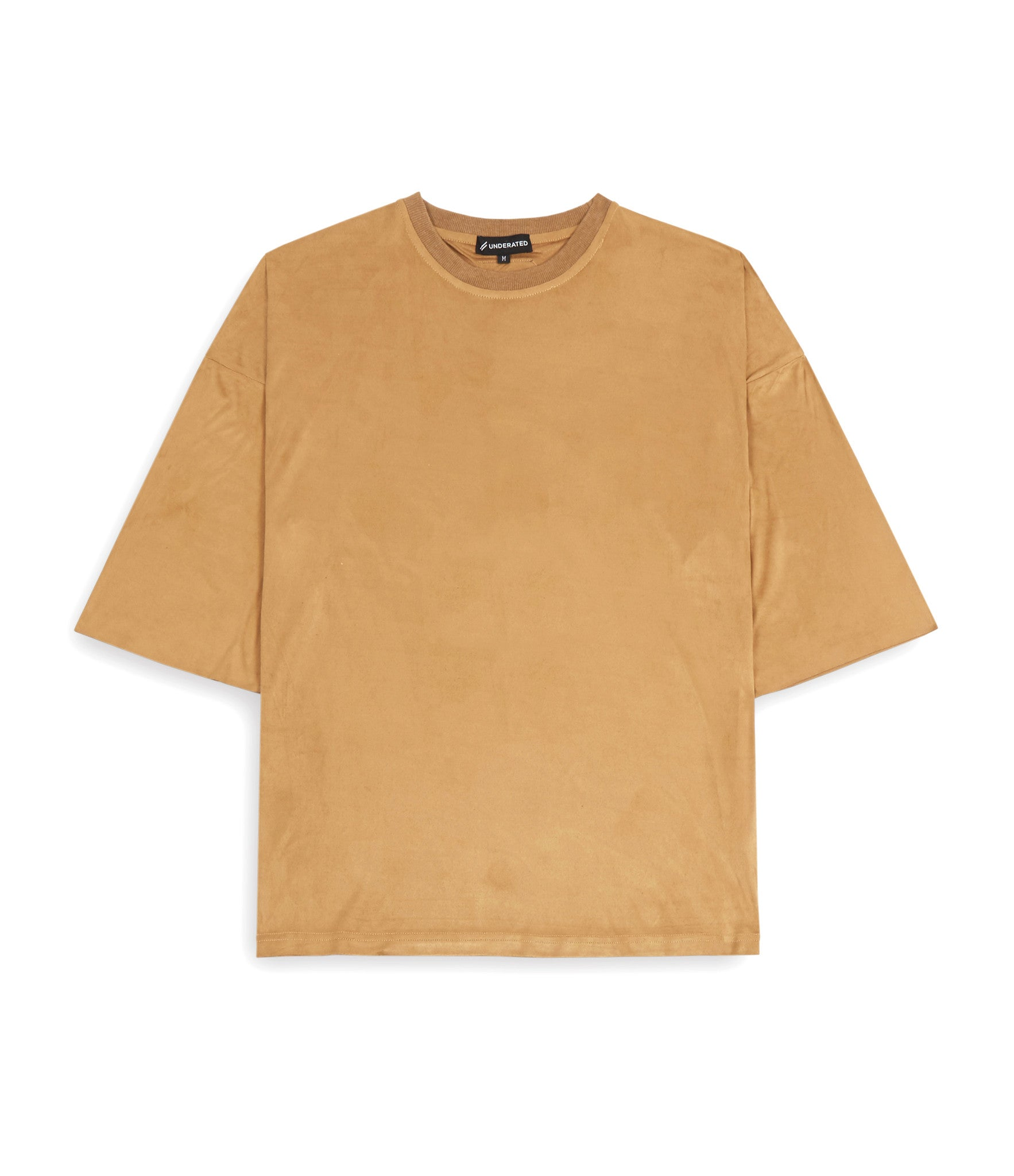 TS302 Suede Oversized Box Tee - Tan - underated london - underatedco - 1