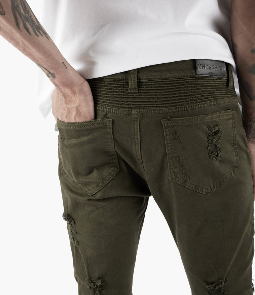 JN152 Distressed Biker Denim - Khaki - underated london - underatedco - 7