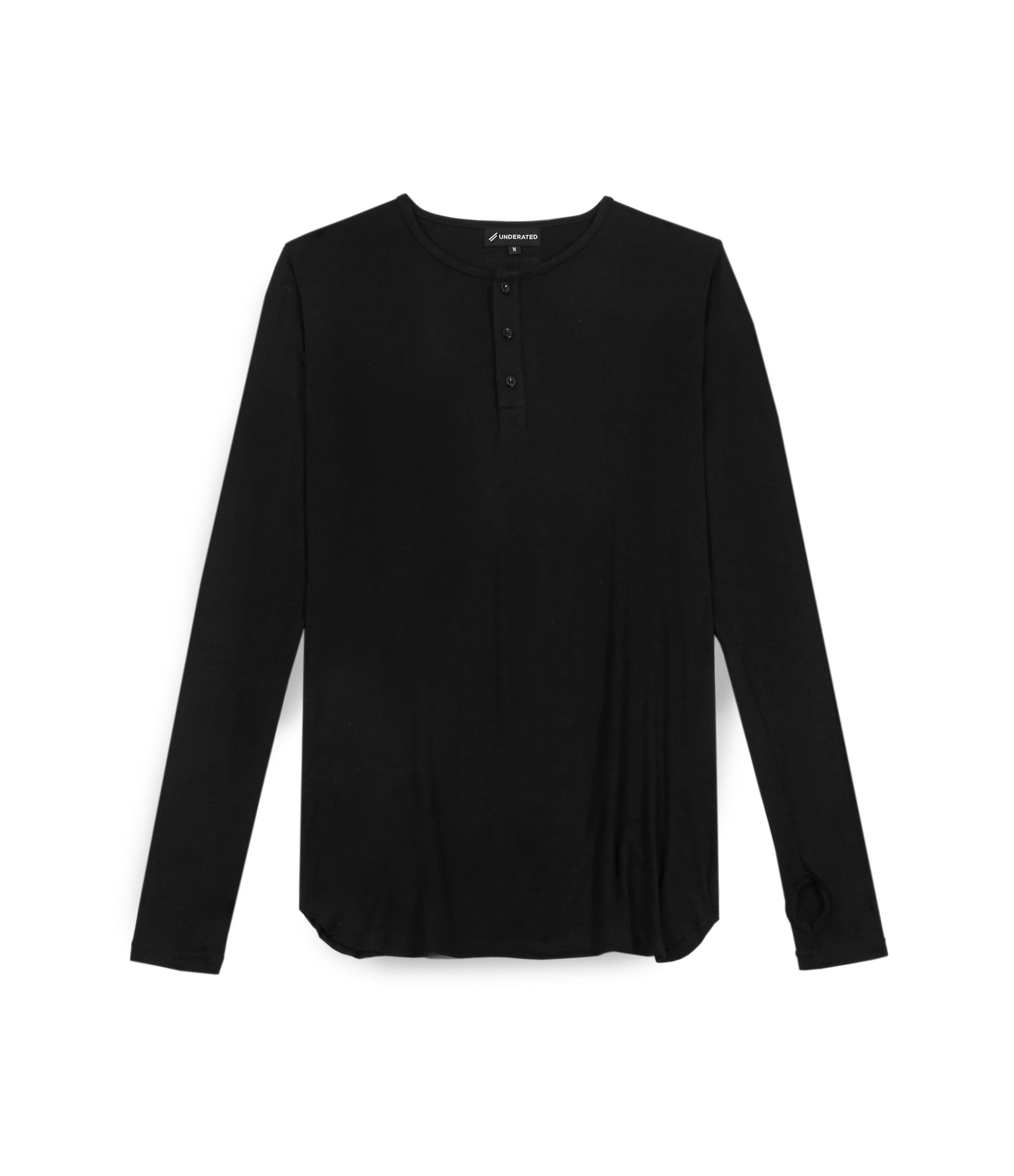 LS264 Under Layer Henley Tee - Black - underated london - underatedco - 1