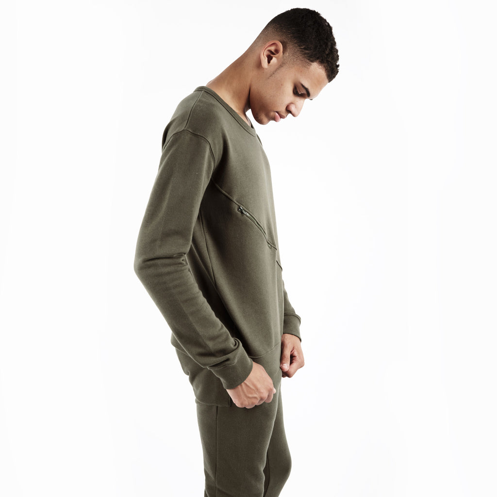 SW344 Asymmetric Zip Sweatshirt - Khaki - underated london - underatedco - 5
