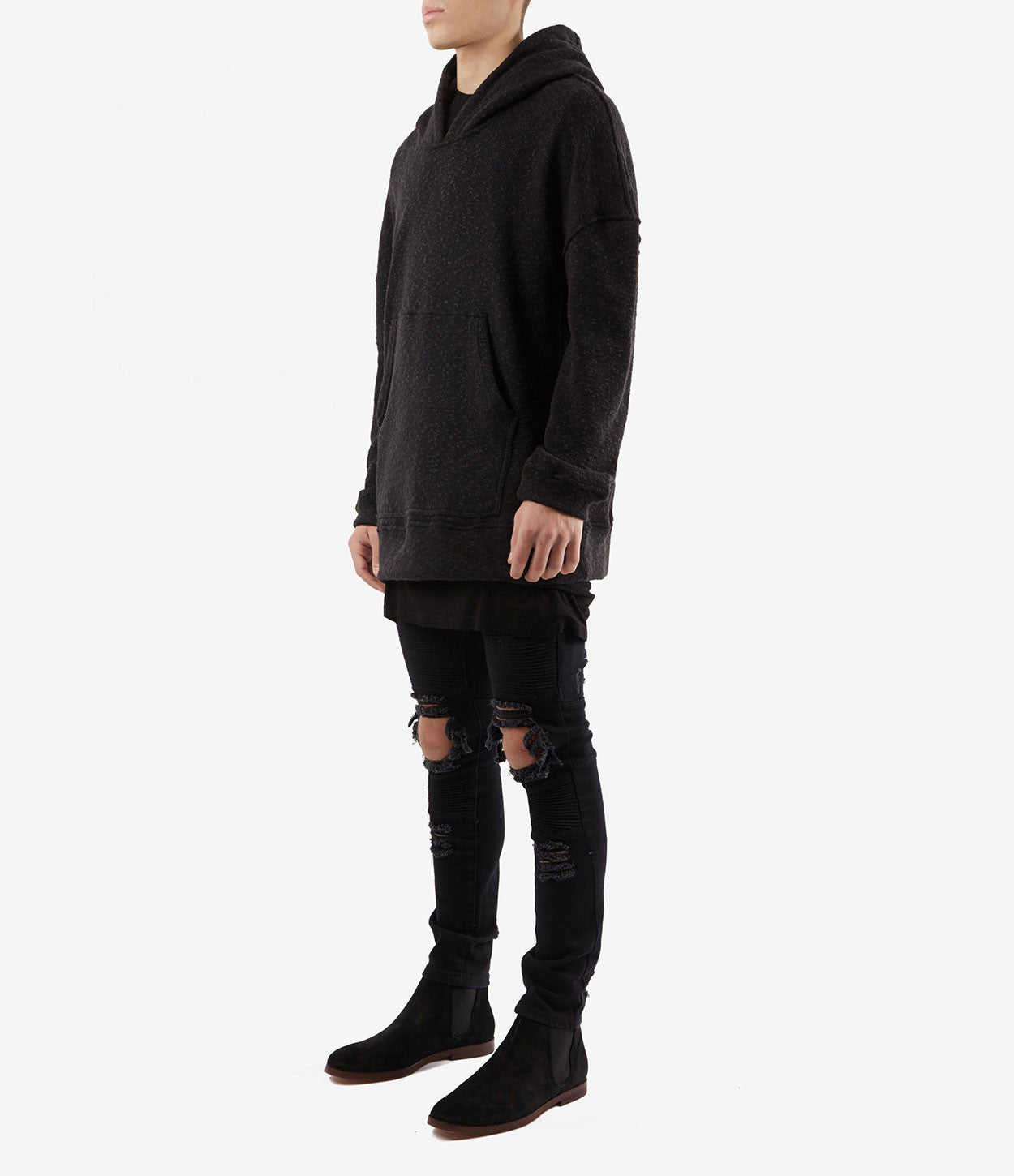 HD378 Oversized Knit Hoody - Charcoal/Black - underated london - underatedco - 3
