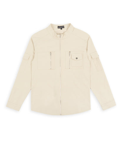 SH342 Utility Zip Shirt - Beige - underated london - underatedco - 1