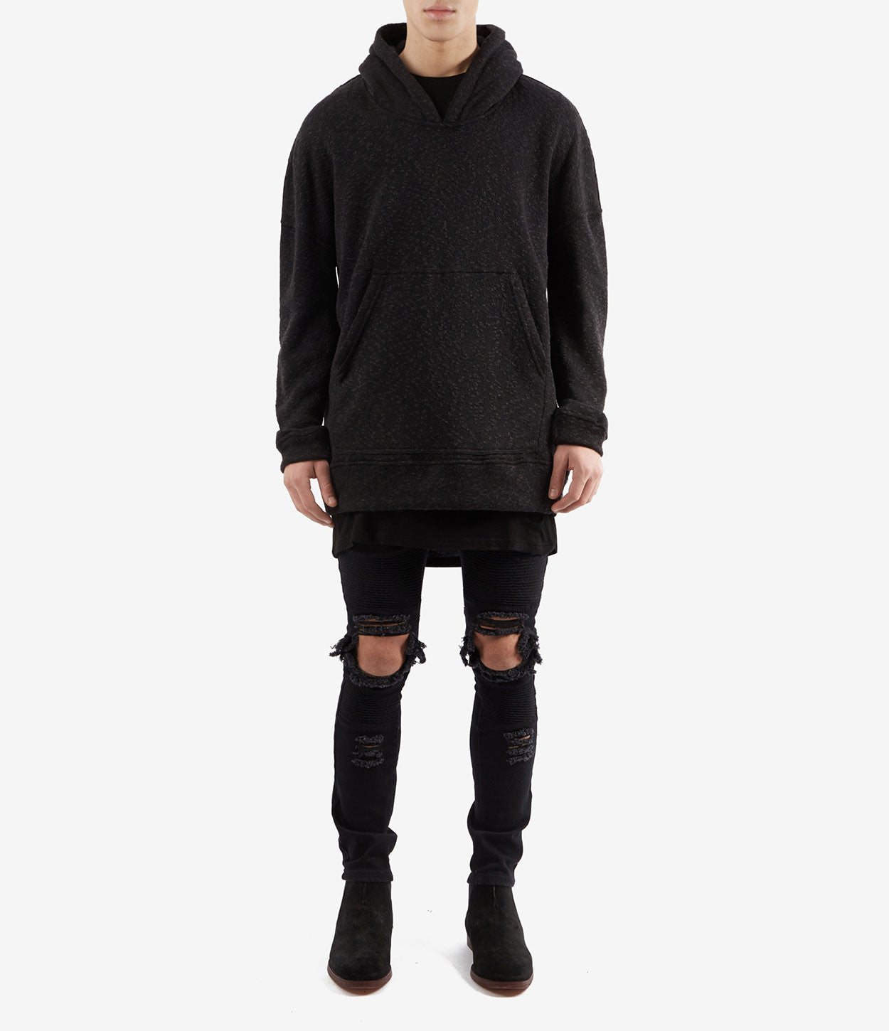 HD378 Oversized Knit Hoody - Charcoal/Black - underated london - underatedco - 2