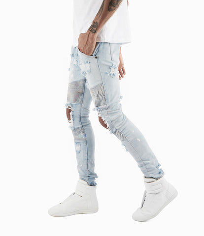 JN152 Distressed Paint Splatter Biker Denim - Light Blue - underated london - underatedco - 1