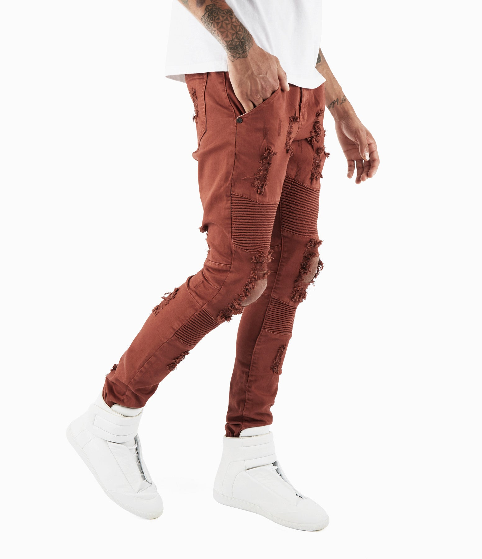 JN152 Distressed Biker Denim - Rust - underated london - underatedco - 1