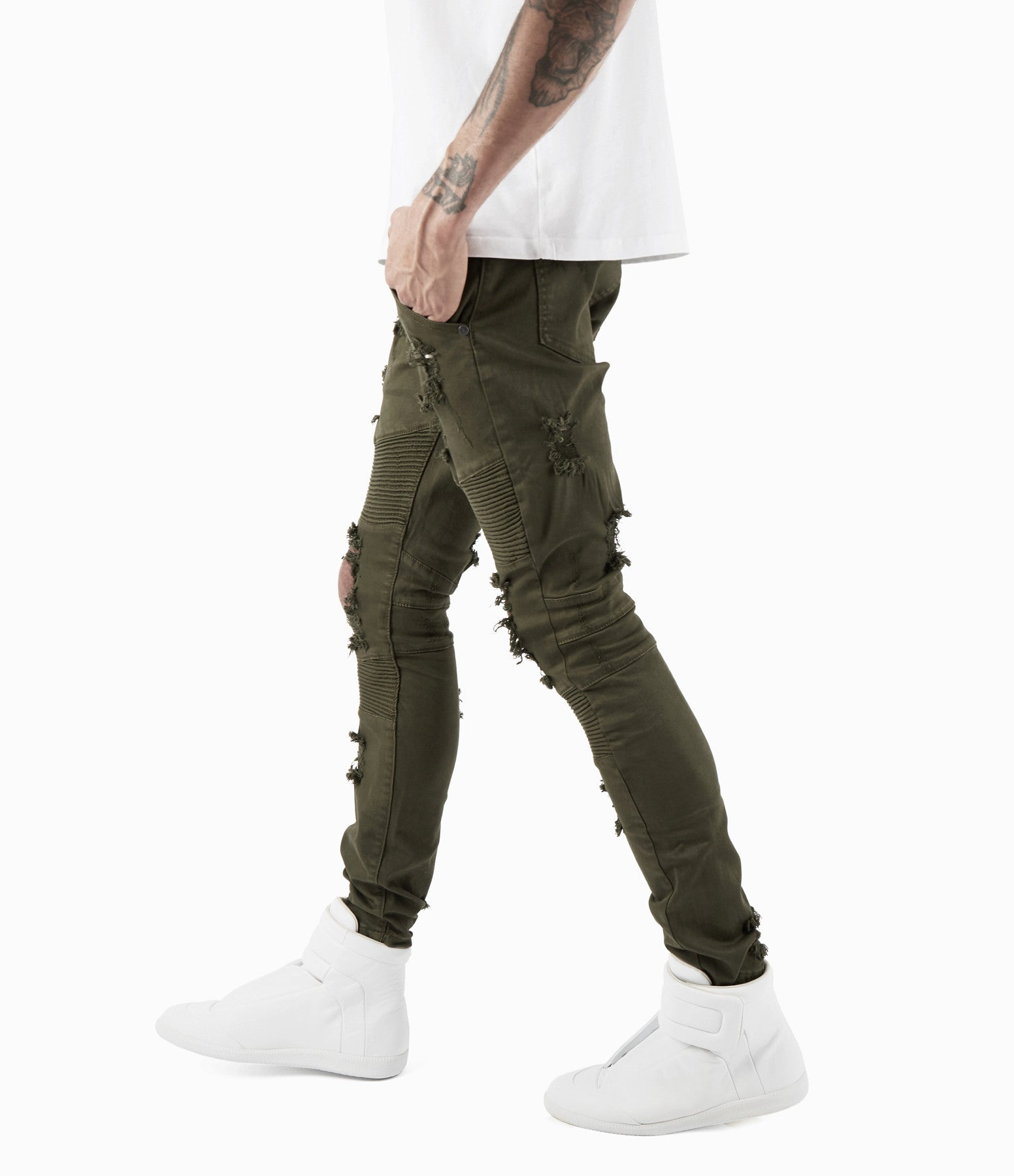 JN152 Distressed Biker Denim - Khaki - underated london - underatedco - 1