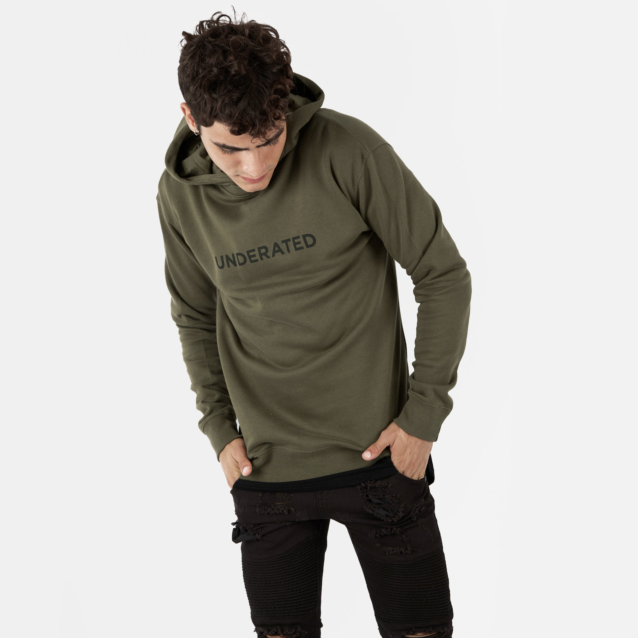 HD395 Essential Print Hoody - Khaki - underated london - underatedco - 2