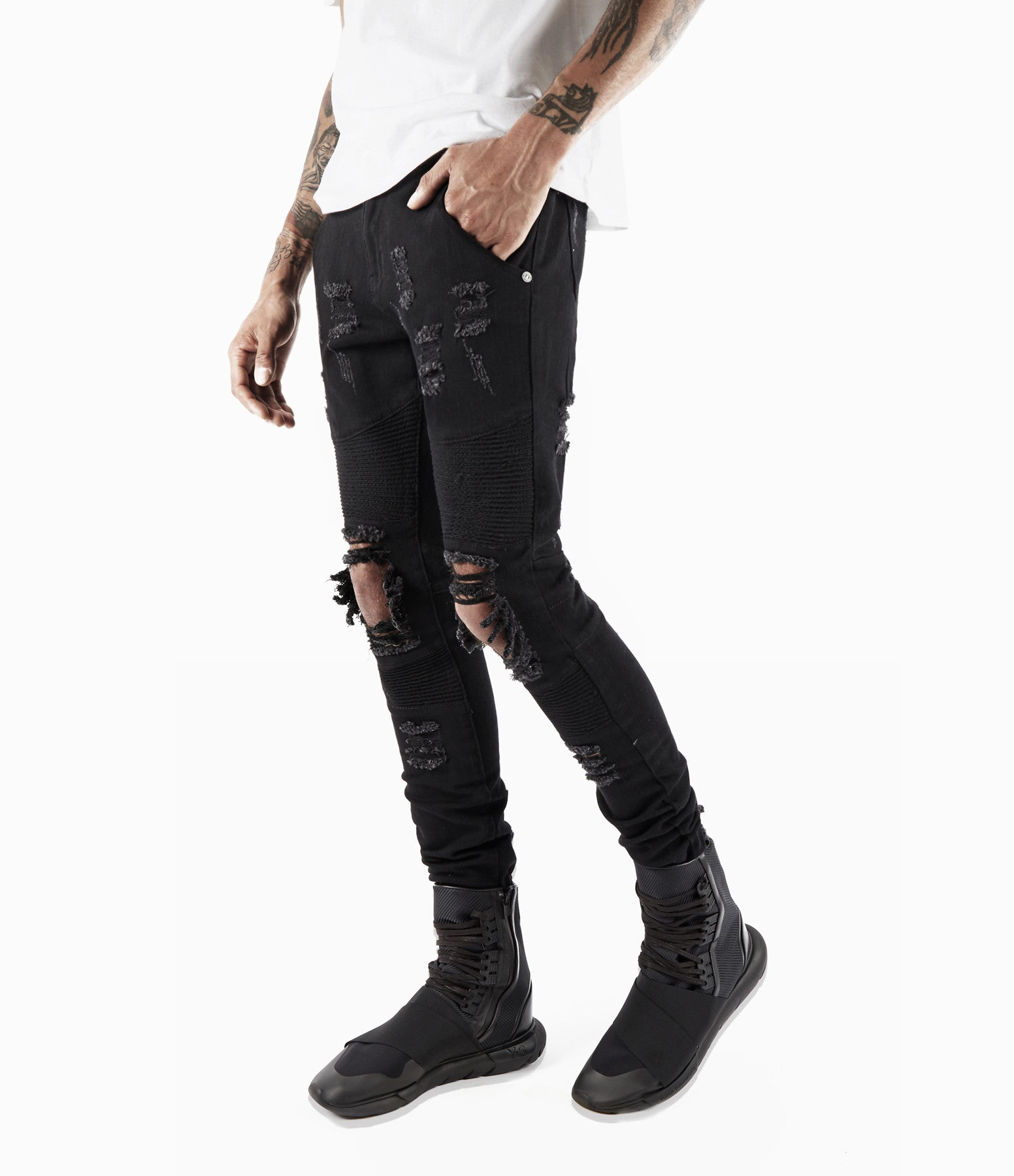 JN152 Distressed Biker Denim - Solid Black - underated london - underatedco - 2