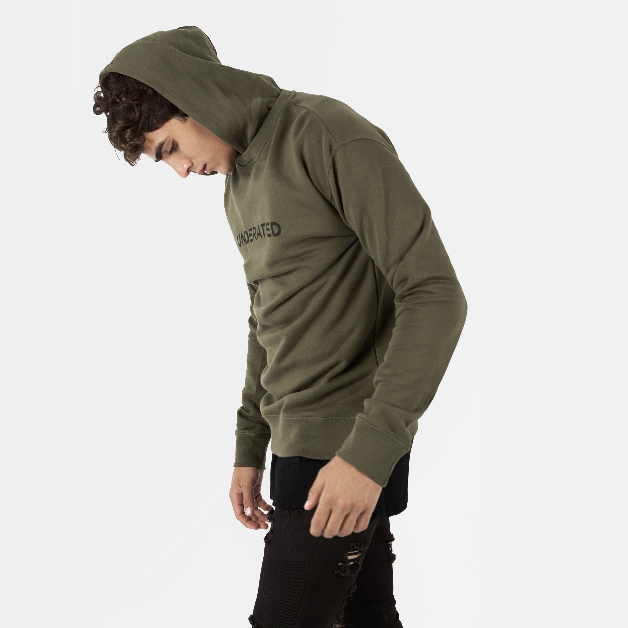 HD395 Essential Print Hoody - Khaki - underated london - underatedco - 3