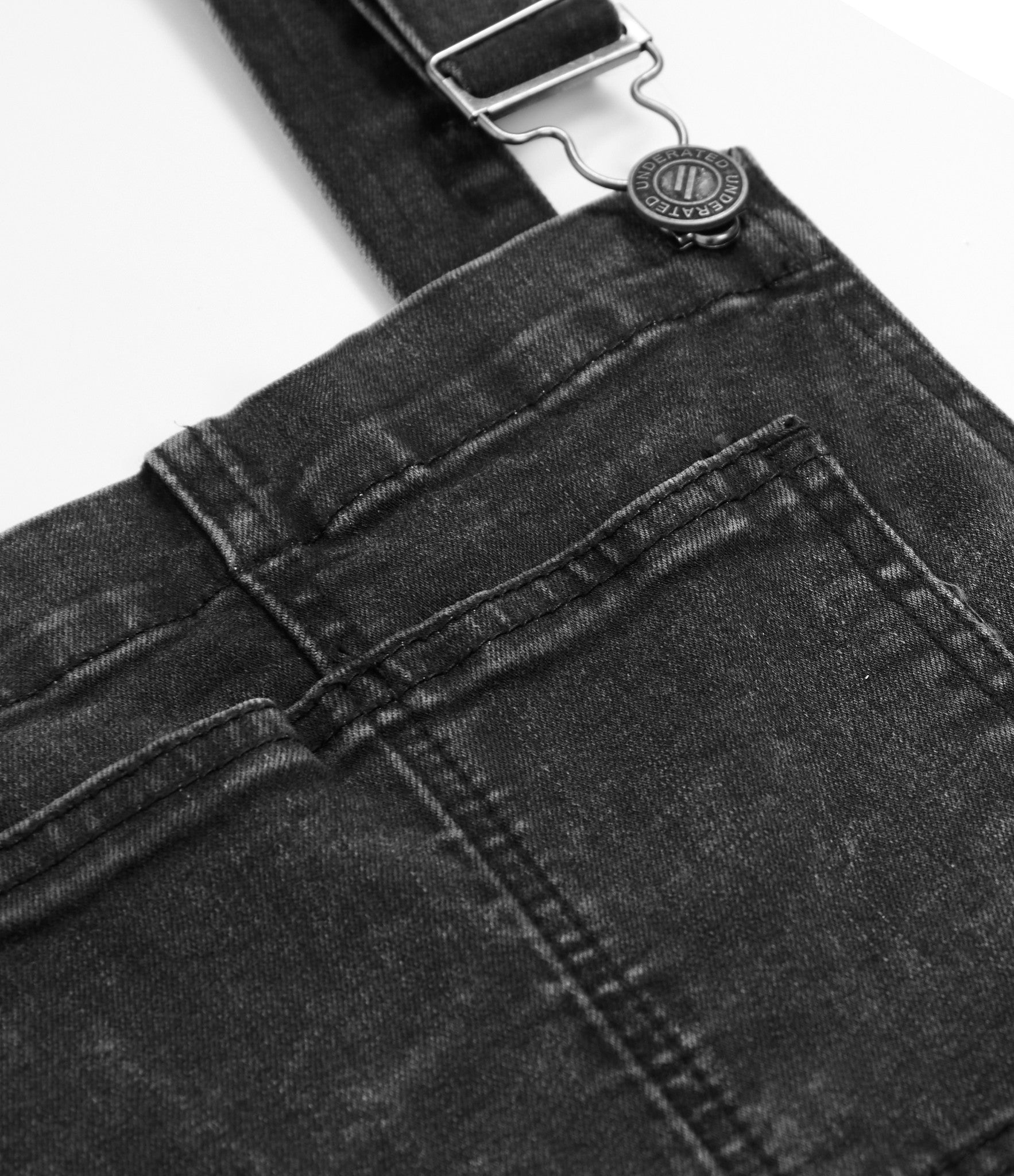 JN181 Distressed Stone Wash Dungaree Denim - Black - underated london - underatedco - 3