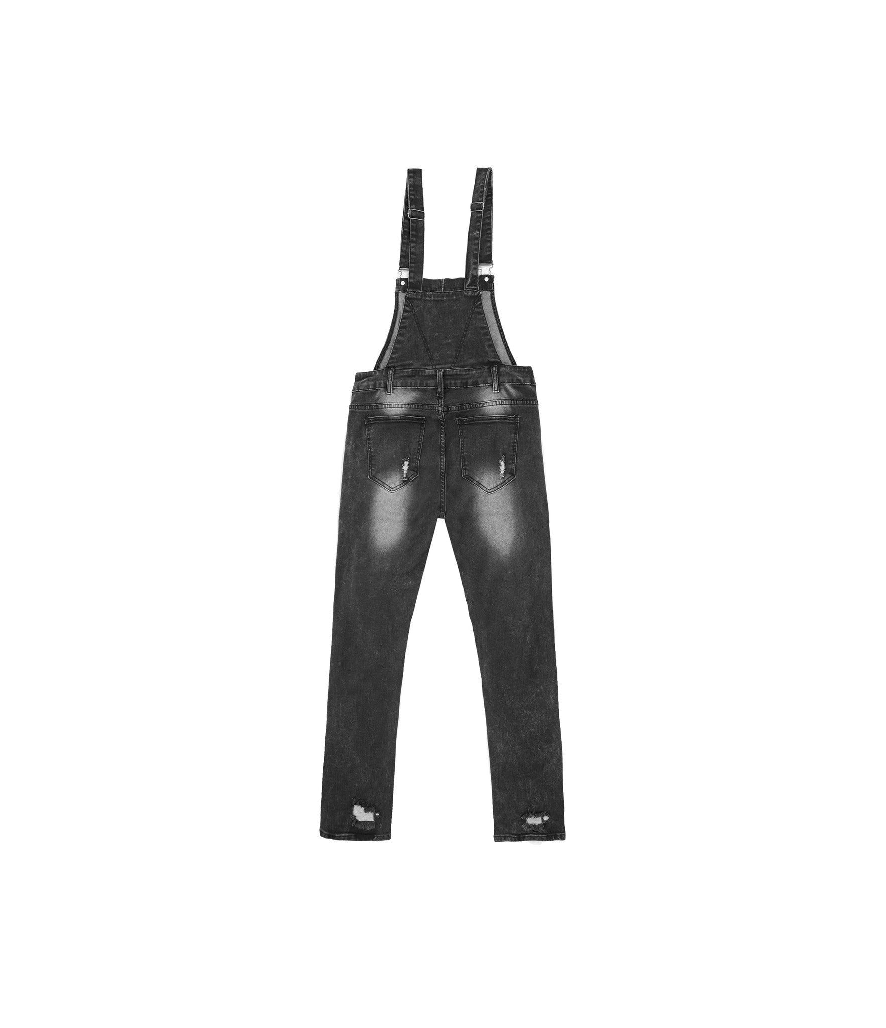 JN181 Distressed Stone Wash Dungaree Denim - Black - underated london - underatedco - 2