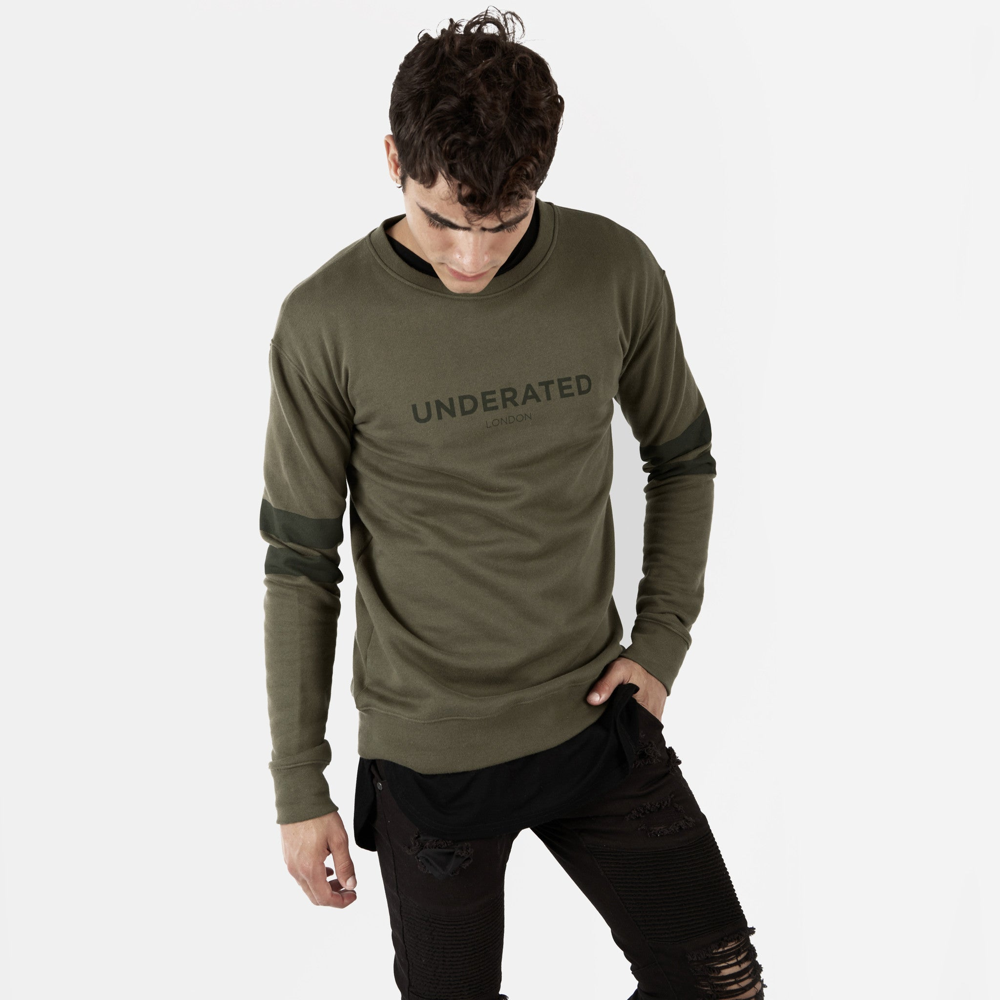 SW400 Tonal Print Sweatshirt - Khaki - underated london - underatedco - 4