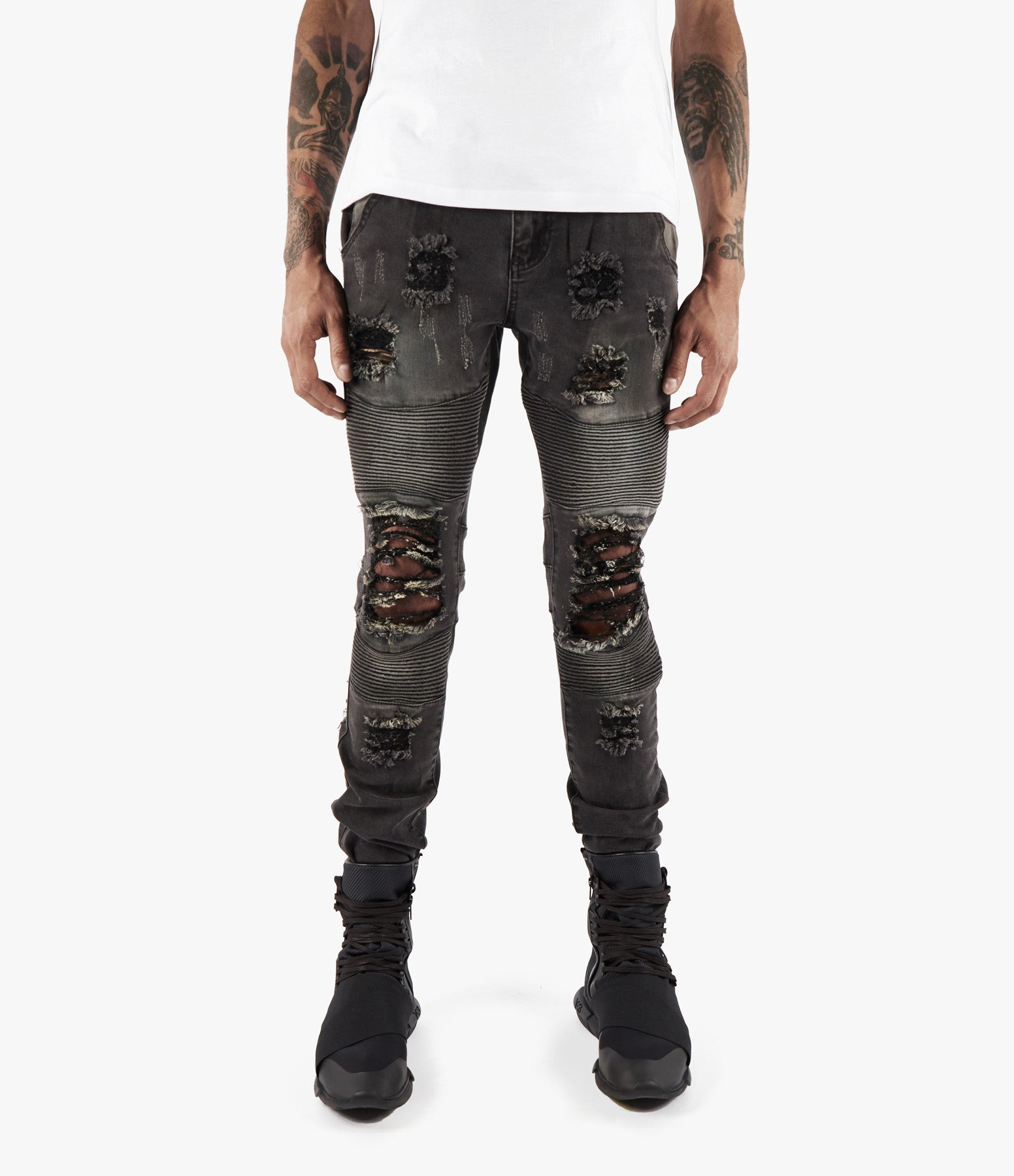 JN152 Distressed Stone Wash Biker Denim - Black - underated london - underatedco - 3