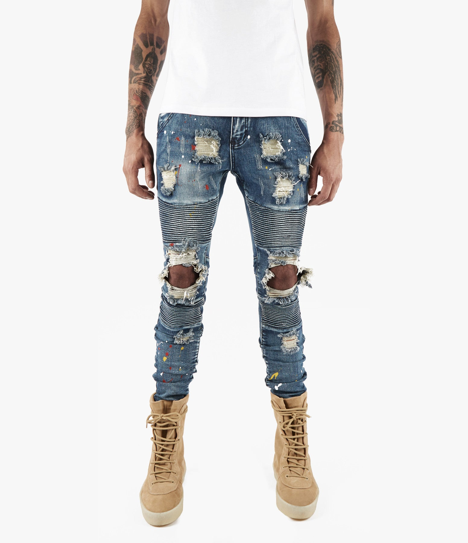 JN152 Distressed Paint Splatter Biker Denim - Indigo - underated london - underatedco - 4