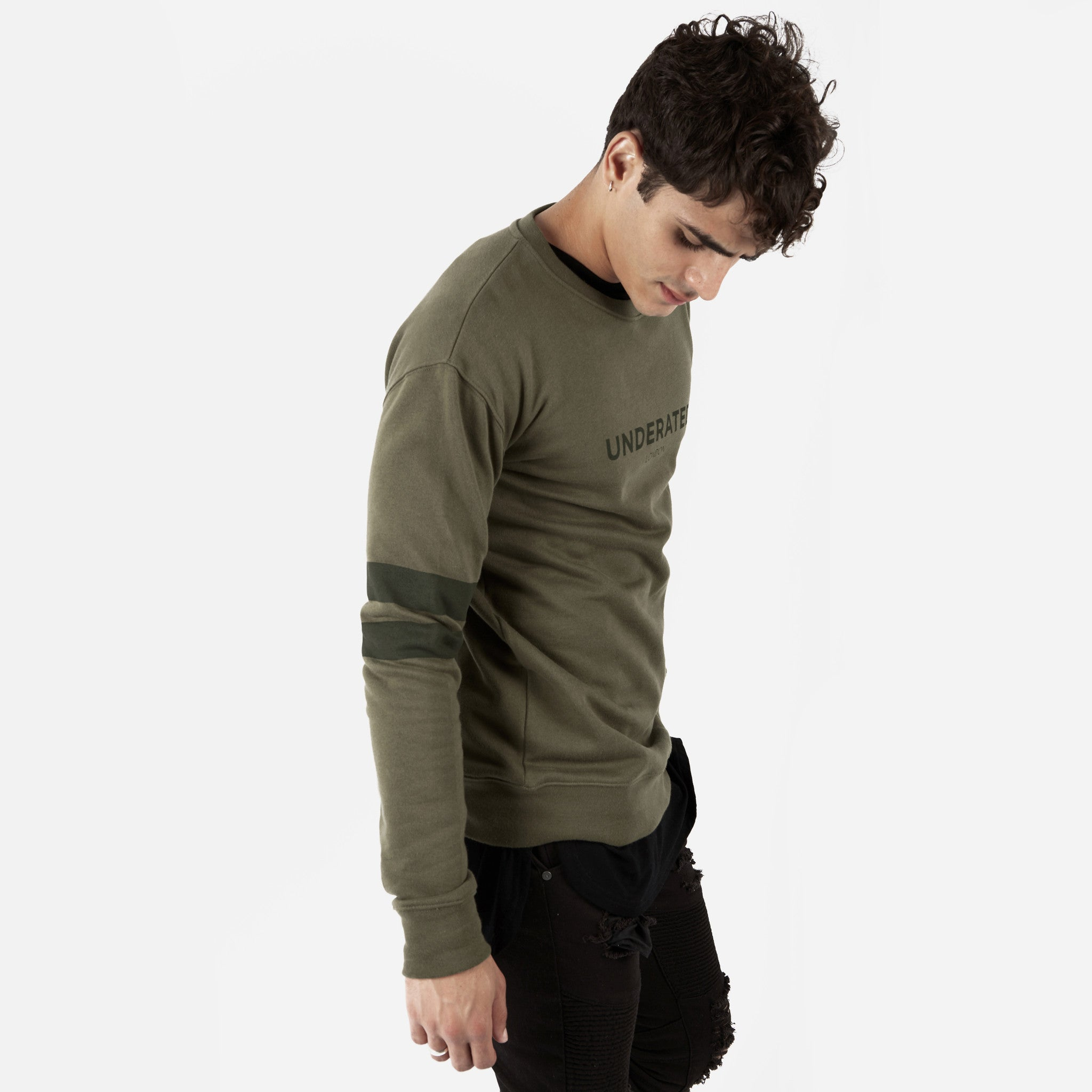 SW400 Tonal Print Sweatshirt - Khaki - underated london - underatedco - 6